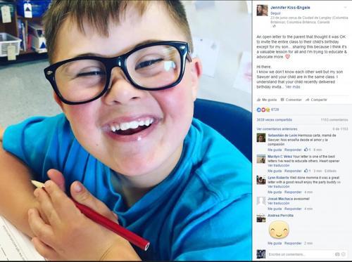 Sawyer, un pequeño con síndrome de Down que no fue invitado a una fiesta de cumpleaños. (Foto: Facebook)