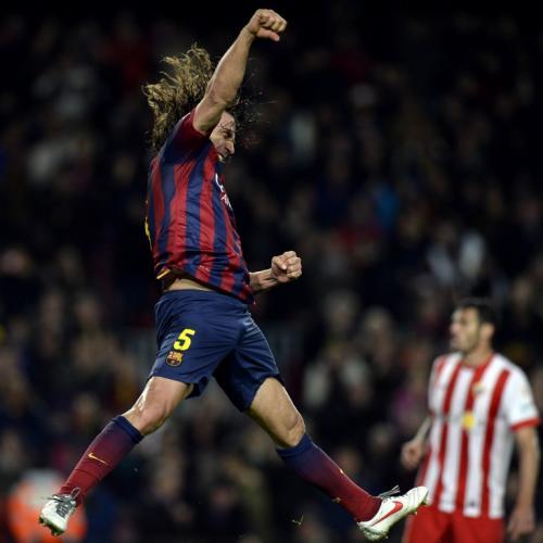 """""""Tarzan"""" Puyol anotó en el triunfo del pasado domingo del Barcelona ante el Almería (4-1). (Foto: AFP)"""