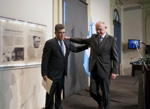 El canciller venezolano Elías Jaua y el canciller Héctor Timerman. (Foto: AFP)