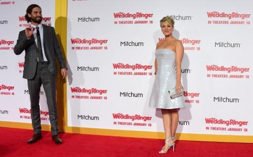 Foto tomada en enero de este año de la actriz Kaley Cuoco y su entonces esposo Ryan Sweeting. (Foto: Frederic J. Brown/AFP)