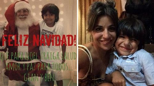 Gianinna Maradona comparte una imagen con su hijo Benjamín en la Navidad que han pasado con Diego Maradona en Buenos Aires. (Twitter)