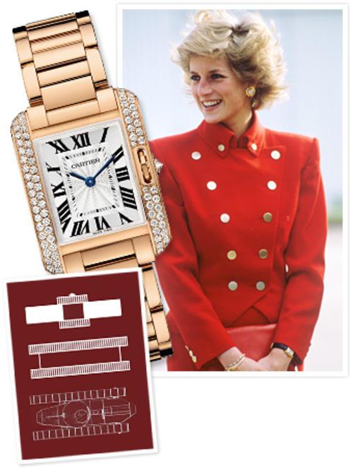 Hay varias fotos donde se puede apreciar que la princesa Diana de Gales poseía varios modelos Tank de Cartier, con pulsera de cuero y de oro.