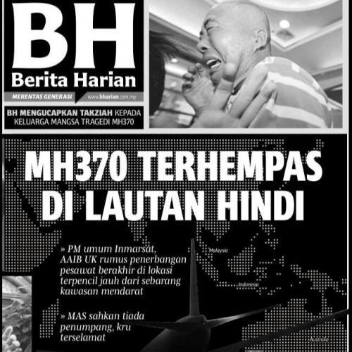 Berita Harian es otro de los diarios que también se publicó en blanco y negro. (Foto: Berita Haran/Facebook)