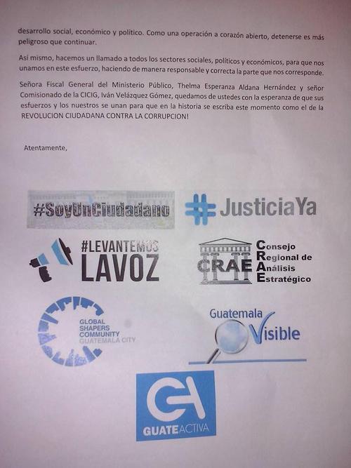 Un total de siete organizaciones firman la misiva de apoyo.