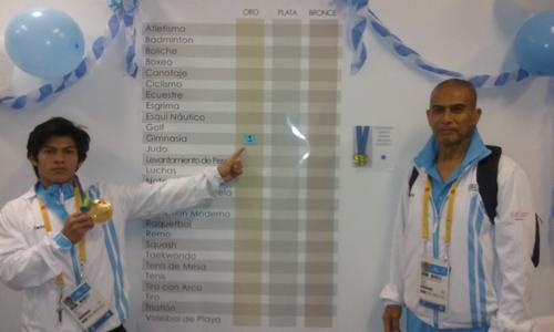 En el interior de la Villa Panamericana, Jorge Vega, coloca su medalla en el cronograma que tiene la delegación nacional en Toronto 2015.