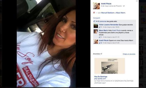 Anett Pikula, arrestada recientemente por transportar drogas en su vehículo, publicó el 6 de mayo pasado, poco después de la convocatoria a elecciones en Guatemala, una fotografía con la playera de Lider, incluso vinculó la imagen a Manuel Baldizón, candidato presidencial. (Foto: Anett Pikula/Facebook)