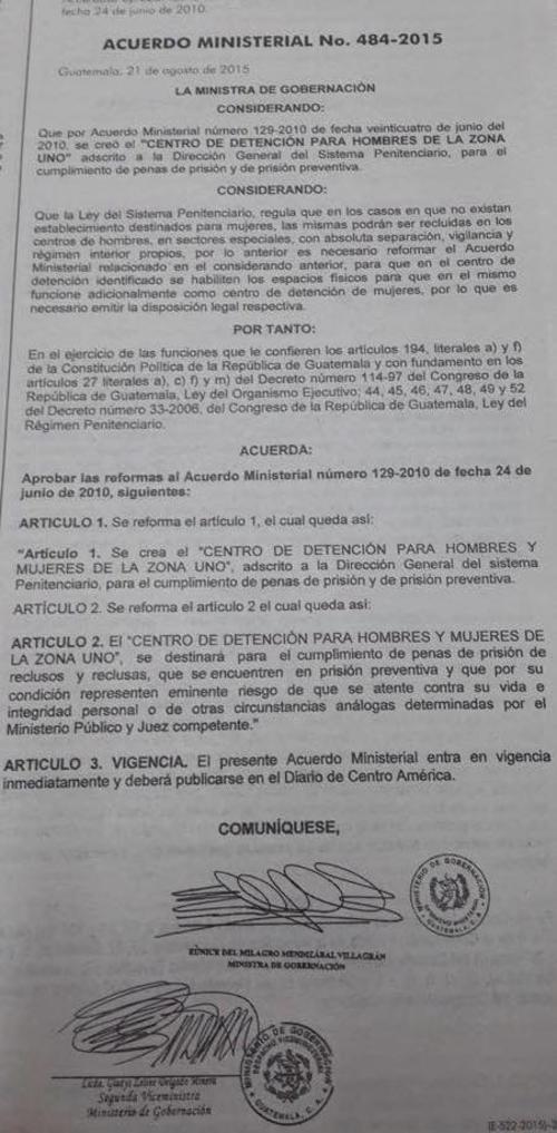 Este es el acuerdo firmado por la ministra de Gobernación, para la creación de la cárcel de mujeres en Matamoros.
