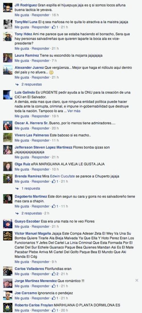 Algunos de los comentarios que desató en medios de El Salvador, la nota del salvadoreño admirador de Roxana Baldetti.