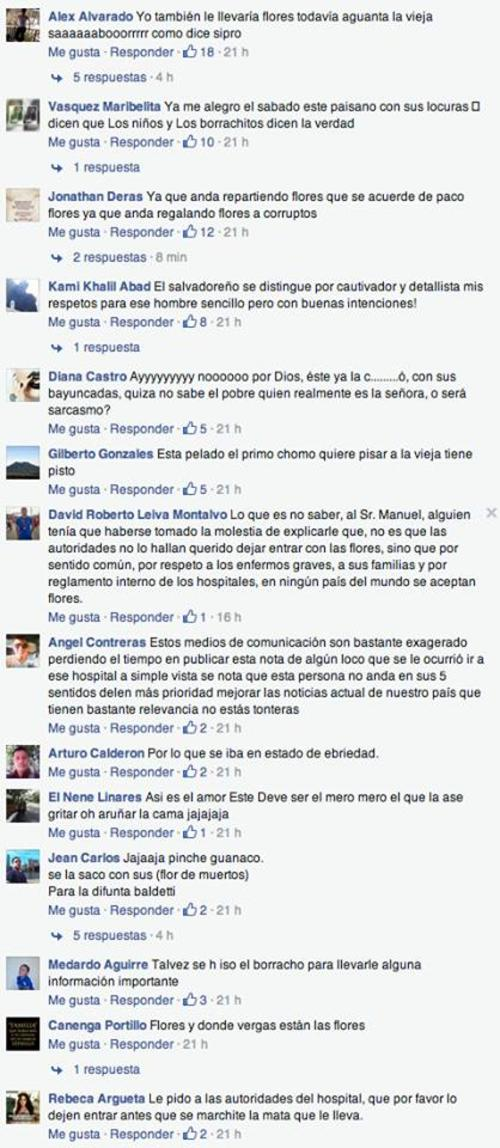 Comentarios diversos causó en medios de comunicación de El Salvador, la noticia del salvadoreño que intentó regalarle flores a Roxana Baldetti en el Centro Médico Militar.