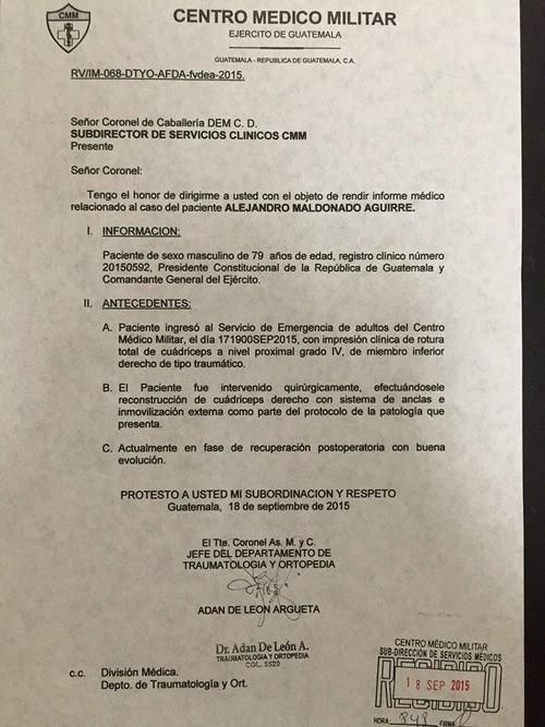 Informe médico del presidente Maldonado. (Foto: Soy502)