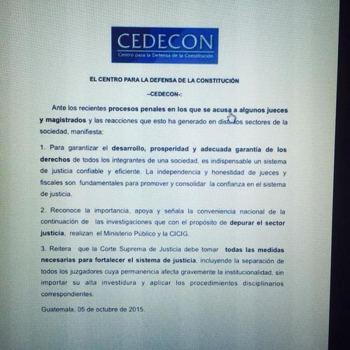 Según CEDECON, la CSJ debe tomar las medidas necesarias para fortalecer el sistema de justicia. (Imagen: Facebook/CEDECON)