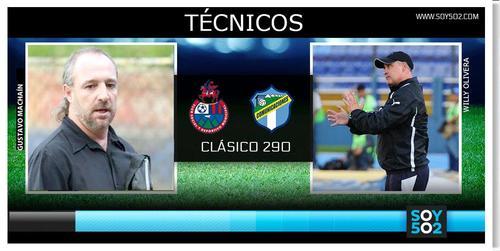 El debutante Gustavo Machaín en el banquillo de Municipal y Willy Olivera de los albos, tendrán duelo de uruguayos en el clásico 290.