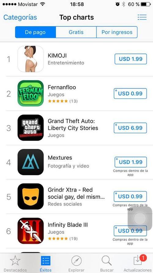 Eso sí, la nueva aplicación de la socialité, con un precio de $1.99, permanece como la más vendida en la lista apps de pago de Apple