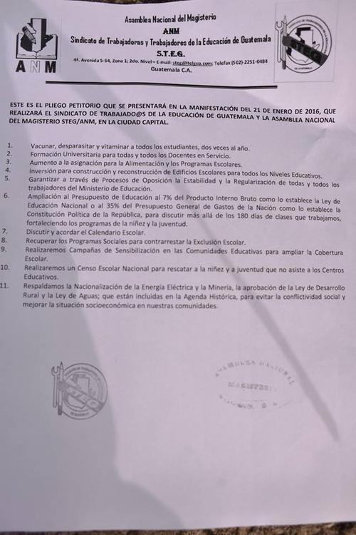 Exigencias de la Asamblea Nacional del Maestro. (Foto: Jesús Alfonso/Soy502)