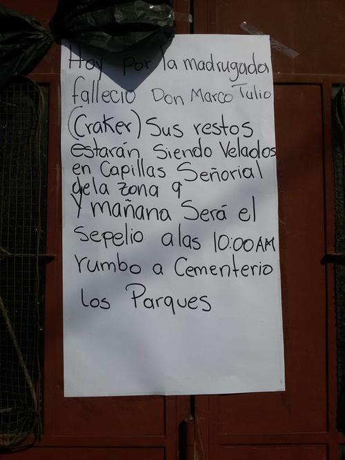 Rótulo frente a la casa de don Marco Tulio. (Foto: FB Jorge Eduardo Melgar)