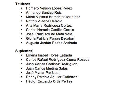 Estos candidatos estarían en la contienda para las plazas de magistrados titular y suplente por la CC.