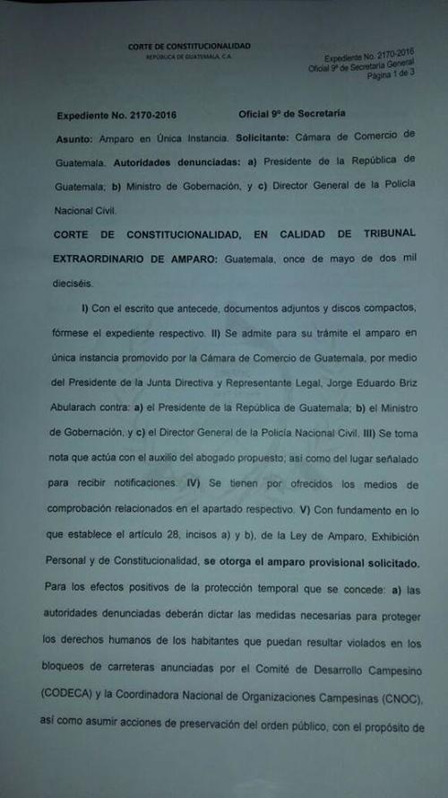 El pleno de la CC resolvió amparar a la Cámara de Comercio ante bloqueos en todo el país. (Foto: Marcia Zavala/Soy502)