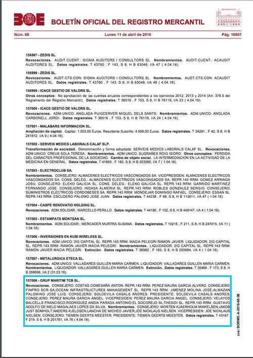 Documento del Boletín del Registro Mercantil del 11 de abril del 2016 donde Ángel Pérez Maura renuncia a su cargo como vicepresidente de TCB.