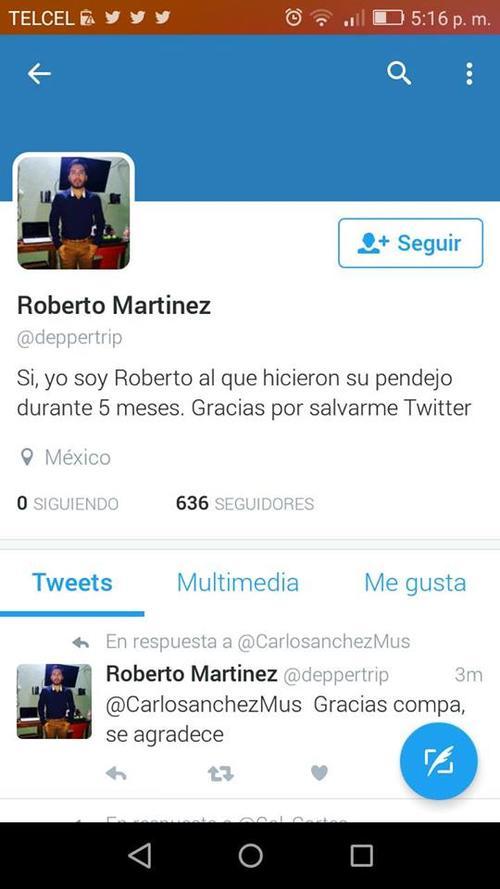 Al parecer a Roberto si le llegó el mensaje del supuesto engaño. (Foto: Twitter)