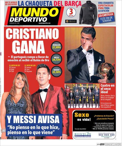 Mundo Deportivo fue equitativo compartiendo la portada entre Messi y Cristiano. (Imagen: portada de Mundo Deportivo)