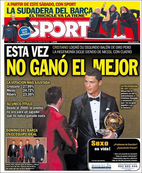 El diario catalán Sport, dejó en claro que Messi era su favorito para el Balón de Oro. (Imagen: portada de Sport)