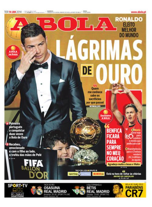 """El medio deportivo portugués """"A Bola"""", mostró el momento de las lágrimas en su portada. (Imagen: portada de A Bola)"""
