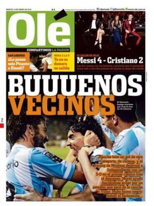 """El diario argentino Olé resolvió el triunfo de Cristiano de manera """"futbolística"""" y destacó los anteriores premios ganados por Lionel Messi. (Imagen: portada de Olé)"""