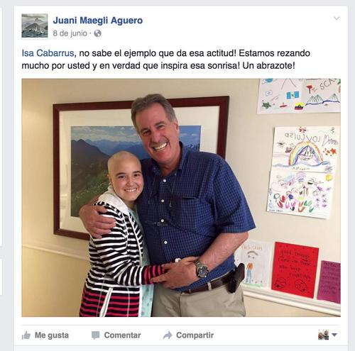 Isabel Cabarrús, lucha con mucha valentía en la vida. En la foto, tomada de Facebook, sale con Juan Estuardo Maegli, papá de Juan Ignacio.