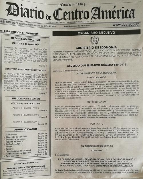 Publicación del Diario Oficial de este miércoles. (Foto: Soy502)