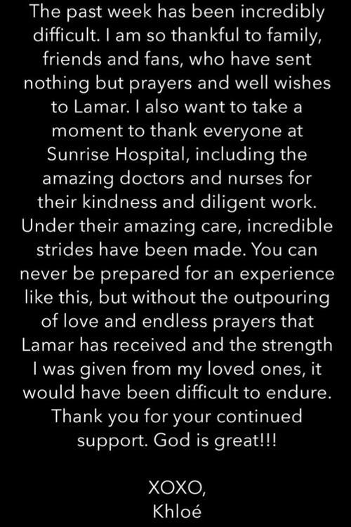 Khloé Kardashian reacciona por primera vez luego del accidente de su esposo.