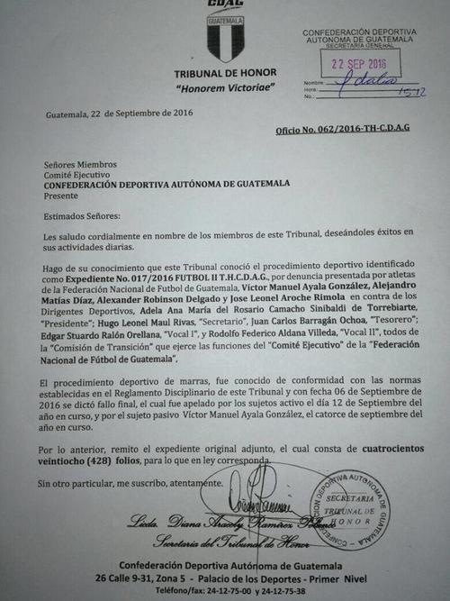 Comité Ejecutivo de CDAG recibió este jueves el expediente y la apelación planteado por la Fedefut ante el Tribunal de Honor.