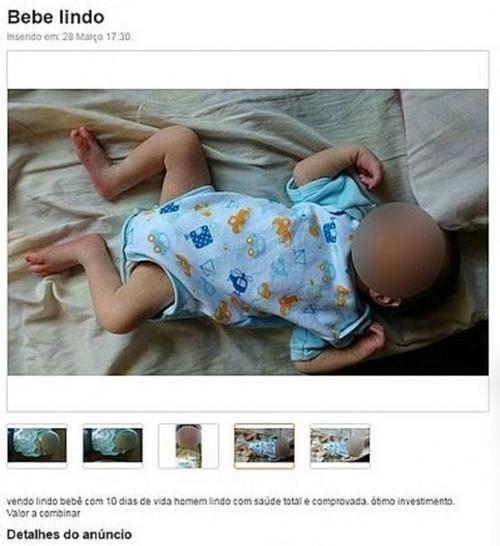 La Policía brasileña detuvo a un hombre acusado de intentar vender al menor de sus tres hijos, un bebé de menos de dos semanas de edad, a través de un portal de anuncios clasificados en internet, informaron fuentes policiales. (Foto: brasil.estadao.com.br)