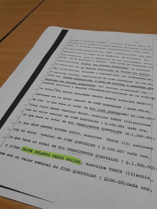 Esta acta hace costar que el hermano del Presidente Otto Pérez Molina fue miembro fundador de la empresa. (Foto: Soy502)