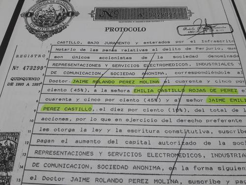 Se firmó un acta en donde consta que la empresa pasó al control de la familia del hermano del expresidente Otto Pérez Molina. (Foto: Soy502)