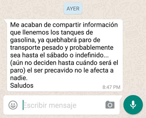 Este es uno de los mensajes que ha circulado por WhatsApp.
