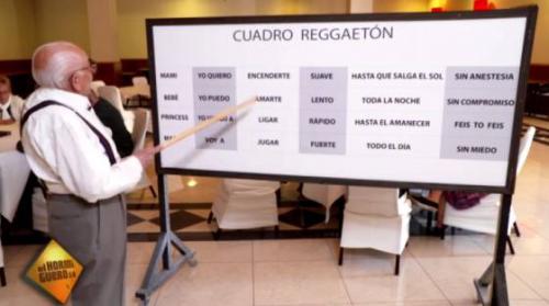 El abuelo del reguetón muestra las frases para construir una canción. (Foto: captura de pantalla)
