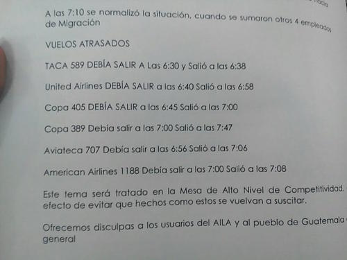 El listado de vuelos que se retrasaron. (Foto: DGAC)