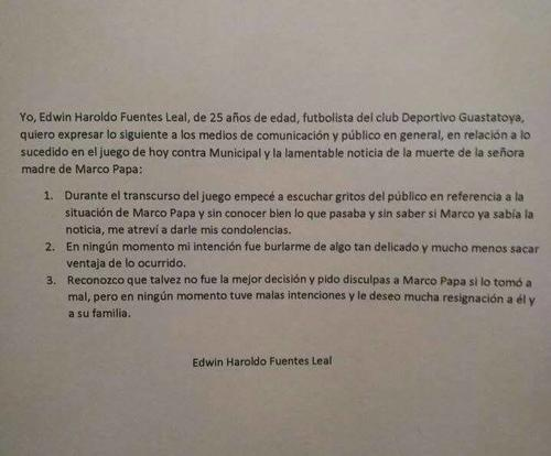 Edwin Fuentes publicó en su perfil personal de Facebook una aclaración de la situación vivida con Marco Pappa. (Foto: Perfil del jugador)