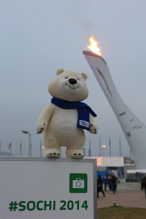 El oso polar mascota de los Juegos Olímpicos de Invierno. Foto Sochi Winter Games