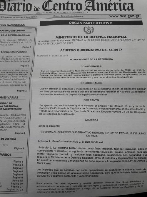 Publicación del Acuerdo Gubernativo. (Foto: DCA)