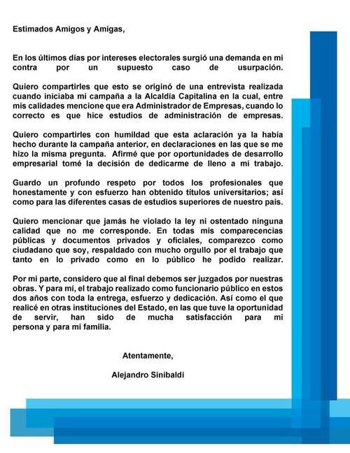 En su perfil de Facebook, el ministro de comunicaciones publicó esta aclaración sobre la mentira que dijo en una entrevista a TV Azteca, cuando afirmó ser administrador de empresas. (Foto: Fanpage Alejandro Sinibaldi).