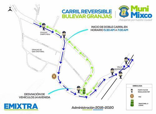 Estas son las indicaciones que ofreció Emixtra para una mejor movilidad por ese sector afectado por un derrumbe en Los Arcos de la zona 8 de Mixco.