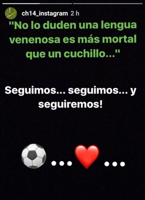 Mensaje de el Chicharito en su historia de Instagram.