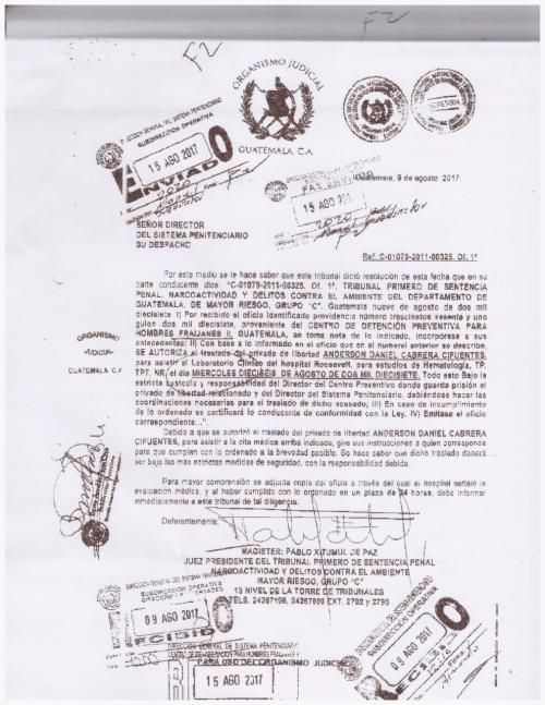 Copia de la orden de traslado con fecha 16 de agosto.