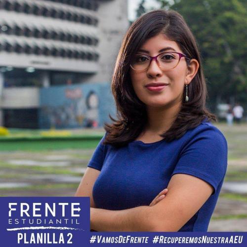 Lenina Amapola García López busca ser la representante de los sancarlistas y trabajar desde la AEU para recuperar los espacios de los estudiantes. (Foto: Frente Estudiantil)