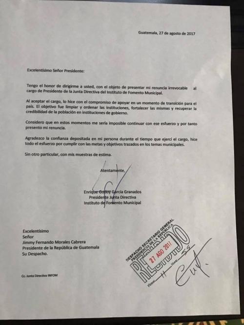 Carta presentada por Quique Godoy. (Foto: Facebook)