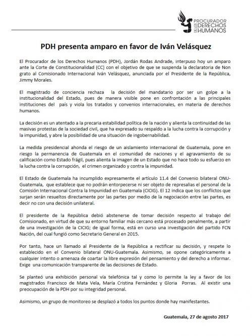 Este es el comunicado de la PDH en relación al amparo que presentó.