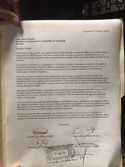 Esta es la carta de renuncia que presentó el equipo del Ministerio de Salud.