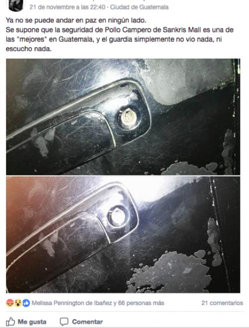 Los delincuentes aprovechan las compras o consumos de las víctimas para robar lo que hay adentro de los vehículos. (Foto: captura Facebook)