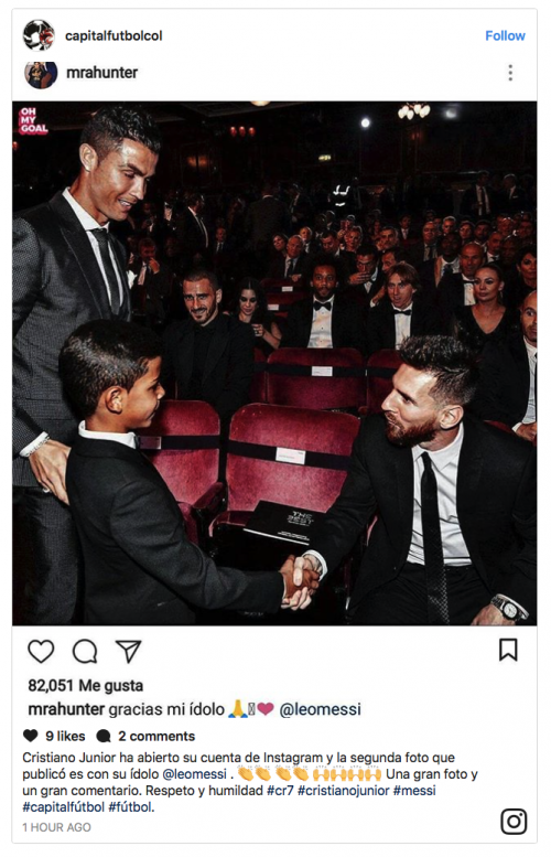 Esta fue la imagen compartida por la cuenta falsa del hijo del delantero del Real Madrid. (Imagen: captura de pantalla)